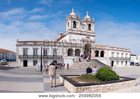 Nazare, Portugal - September 20, 2018 : Square Where You Can See The Sanctuary Of Our Lady Of Nazare