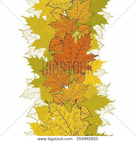 Vector Floral Border Design With Colorful Autumn Leaves. Seamless.