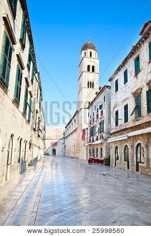 Morning in main street in Dubrovnik, placa Sradun, Croatia