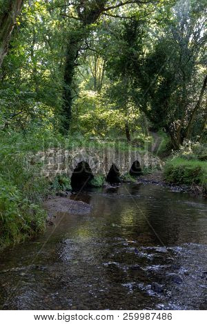 An ancient packhorse and cart bridge over the Burry Pill stream, in Cheriton Valley, Gower, Wales, which was recorded in a survey in the reign of Elizabeth I as