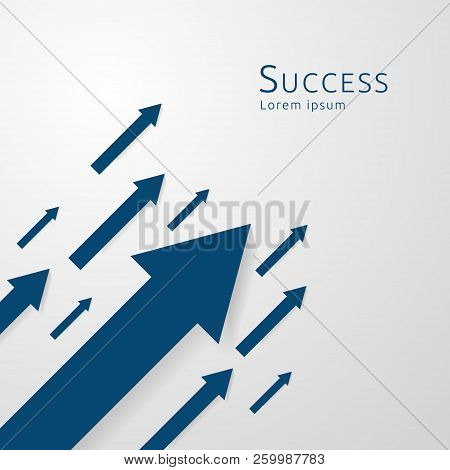 Business Arrows Concept To Success. Growth Chart Up Increase Profit Sales. Finance Money Stretching