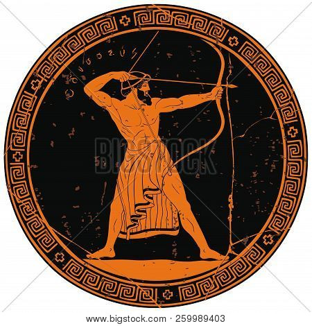 The Hero Of The Ancient Greek Myths Odysseus. Warrior With A Weapon On The Round Black Medallion. Ar