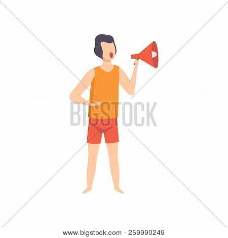 Male Lifeguard Shouting Into A Megaphone, Professional Rescuer Character Working On The Beach Vector