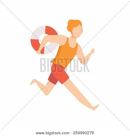 Male Lifeguard Character Running With Lifebuoy, Professional Rescuer Character Working On The Beach