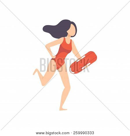 Female Lifeguard Running With Life Preserver Buoy, Professional Rescuer Character Working On The Bea