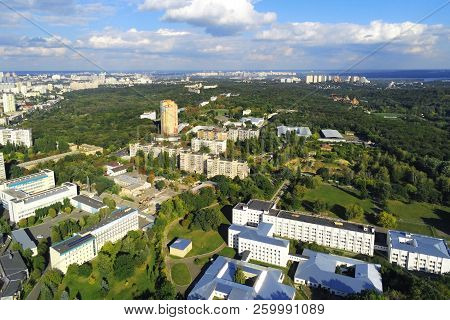 Aerial view of Kiev park and old famous exhibition complex VDNH. Metropolis Ukraine capital panoramic scenic autumn drone photo poster