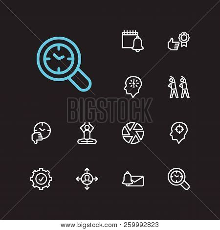 Task Icons Set. Mediate And Task Icons With Delegate Tasks, Reminders And Audit Time. Set Of Unlike