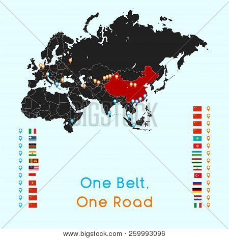 One Belt One Road New Silk Road Concept. 21st-century Connectivity And Cooperation Between Eurasian