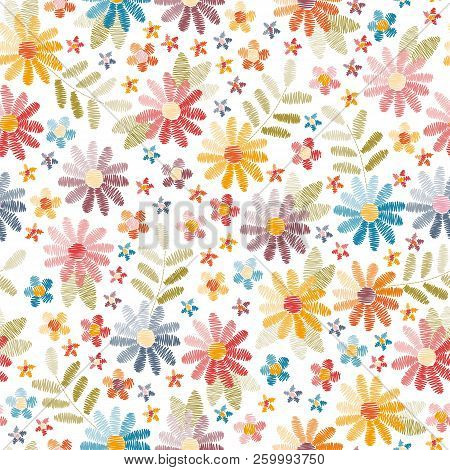 Embroidery Seamless Pattern. Beautiful Flowers And Leaves Isolated On White Background. Colorful Fan