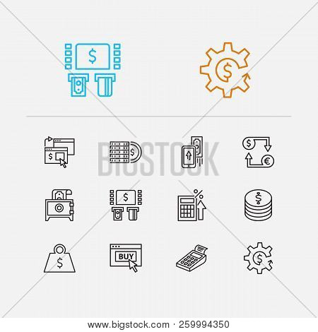 Money Payment Icons Set. Online Payment And Money Payment Icons With Fintech, Pos Terminal And Mobil