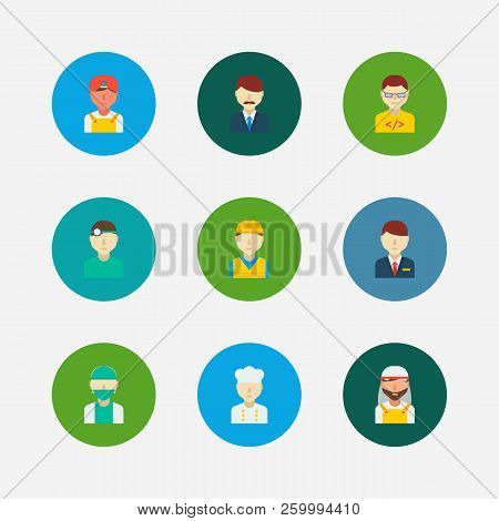 Professional Icons Set. Indian Worker And Professional Icons With Arab Worker, Dentist And Construct