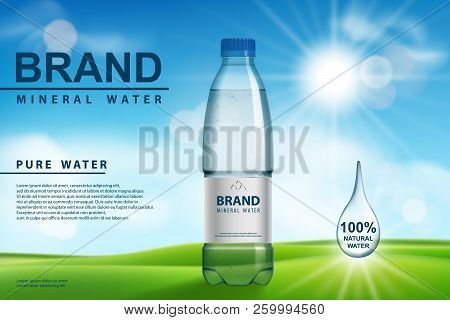 Mineral Water Ad, Plastic Bottle With Pure Mineral Liquid On Sunny Background. Transparent Drinking