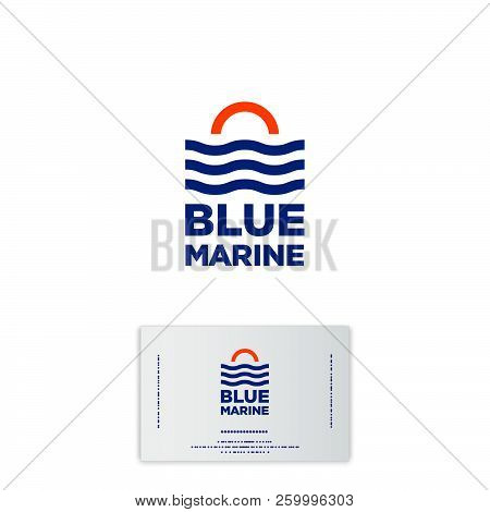 Blue Marine Logo. Boats And Service. Travel Agency Emblems. Yacht Club Emblem. The Sunrise, Waves An