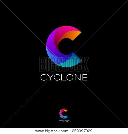 C Letter Monogram. C Helix Logo. Web, Ui Icon. Colorful Vortex Logo On A Black Background. Contour O