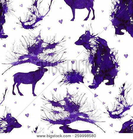 Wild Forest Animals. Bear, Deer, Hedgehog And Branch On The Background With Hearts. Natural Cliparts
