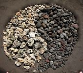 "A ""yin and yang"" symbol made from black volcanic rock and white coral in the sand on the beach in hawaii poster"