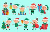Christmas elf character. Cute Santa Claus helpers elves. Funny Xmas winter baby dwarf characters vector set poster
