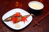 Grilled fish saury and boiled rice japanese food poster
