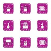 Sanitary facility icons set. Grunge set of 9 sanitary facility vector icons for web isolated on white background poster