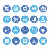Hospital, medical flat glyph icons. Human organs, stomach, brain, flu, oncology, plastic surgery, psychology breast cancer Health care clinic signs. Solid silhouette pixel perfect 64x64 poster