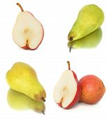 a lot of big, ripe, bright pears. pears on a white background, whole and in cross section. isolate poster