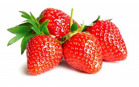 Close-up View Of Four Strawberries On White Background