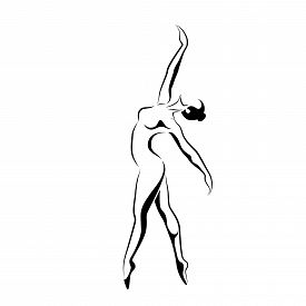 Dancing Girl Silhouette In Black And White.