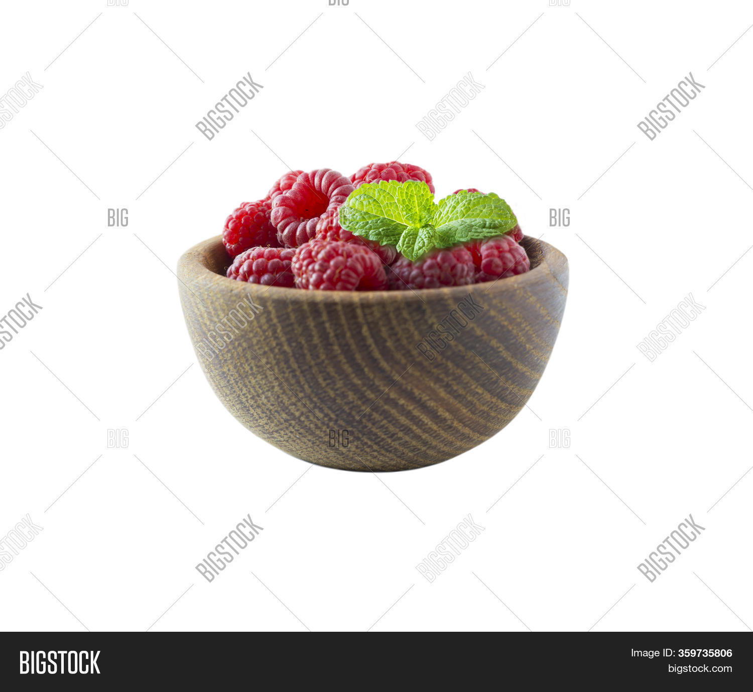Raspberries Isolated On White Background. Raspberries On Wooden Bowl. Raspberry With Copy Space For