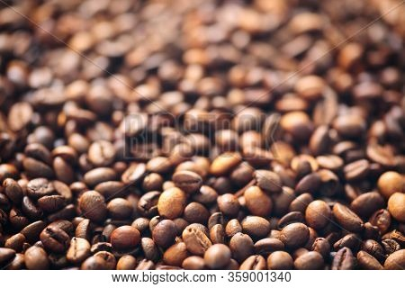 Natural Coffee Aromatic Beans Close-up Texture Background
