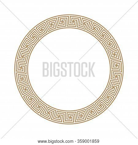 Greek Key Round Frame. Greek Border. Vector