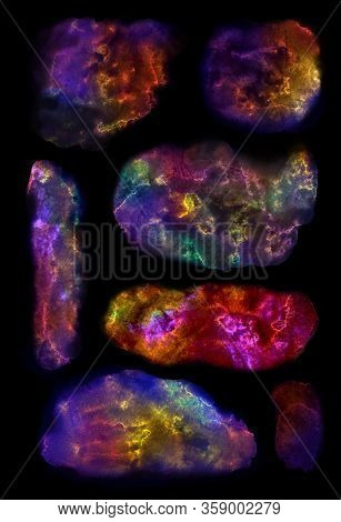 Paint Splat Stain Blot Spots Splashes Set Collection Isolated On Black Background. Bright Vivid Mult