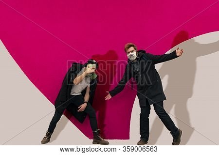 Teenager Irresponsible Behavior Hipster Style Banter Photography Of Posing Two Guys In Medicine Mask