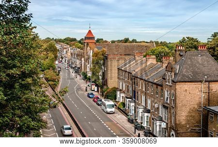London / Uk - September 16 2018: View Of Archway Road, In Highgate, From Above. The Church Of St Aug