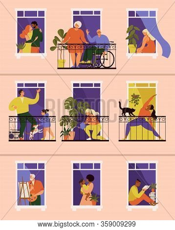 The Concept Of Social Isolation During The Coronavirus Pandemic. Windows With People Inside Their Ho