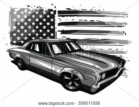 Monochromatic Vector Graphic Design Illustration Of An American Muscle Car