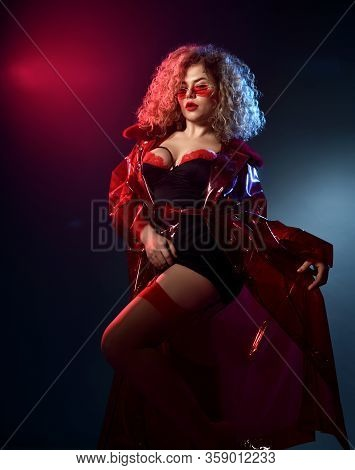 Blonde Curly Female In Sunglasses, Red And Black Lace Sexy Lingerie Chemise, Stockings, Transparent