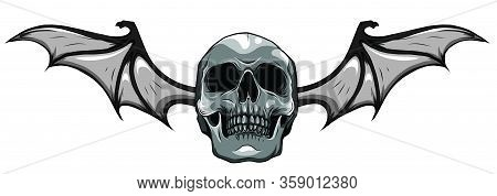 A Winged Skull Bat Or Dragon Wings In A Vintage Woodcut Etched Or Engraved Vector Style