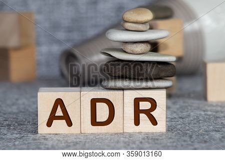Yellow Plastic Forklift Hold Letter A To Complete Word Adr Abbreviation Of Adverse Drug Reaction On