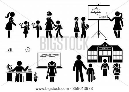Stick Figure Teacher, School Boy, Girl Go First Day, Study, Learning Knowledge Vector Icon Pictogram