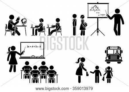 Stick Figure Teacher, School Boy, Girl, Study, Learning Black Silhouette Vector Icon Pictogram. Lect