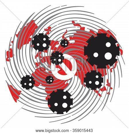 Covid 19. Coronovirus On The Earth. Stop Coronovirus In The World, Red Map Of The World In The Virus