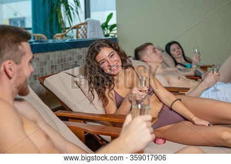Spa Woman Relax In A Happy Room Luxurious Four Beautiful Young Hot, Room