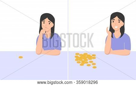 Poor And Rich Woman. Broke And Wealth Character. Idea For A New Business. Flat Vector Cartoon Modern
