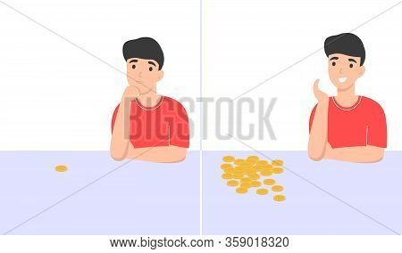Poor And Rich Man. Broke And Wealth Character. Idea For A New Business. Flat Vector Cartoon Modern I