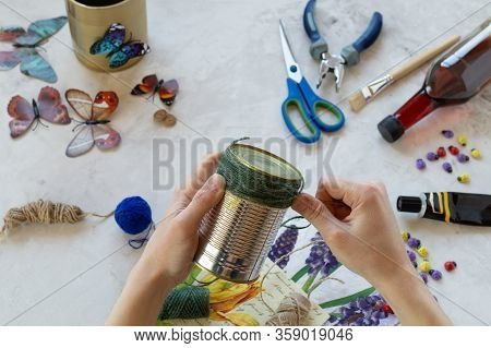 Decorating Tin Cans With Decoupage Napkins, Jute Rope And Using Various Decor Elements. Diy. Step By