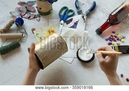 Decorating Tin Cans With Decoupage Napkins, Jute Rope And Using Various Decor Elements. Do It Yourse
