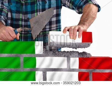 Italy rebuild italian flag brick wall and country after the crisis concept