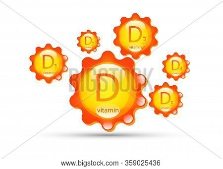 Vitamin D Group. Sun Icon Natural Organic Products With The Maximum Content Of Vitamin D, D1, D2, D3