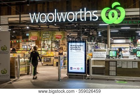 Sydney, Australia - Mar 29, 2020: New Look Store Front Of The Woolworths Supermarket Chain At Rosela