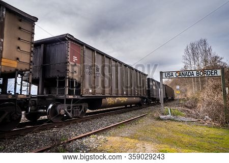 Surrey, Canada - Mar 29, 2020: Bnsf Rail Cars Soutbound At Canada Usa Border